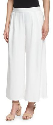 Eileen Fisher Woven Tencel® Grain Wide-Leg Cropped Pants, White $198 thestylecure.com