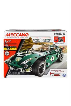 Meccano Boys 5 Model Set Roadster With Pull Back Motor