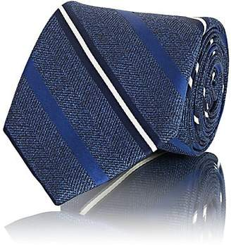Fairfax MEN'S STRIPED HERRINGBONE-WEAVE SILK NECKTIE - BLUE