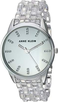 Anne Klein Women's AK/2617CLSV Glitter Accented Silver-Tone and Clear Transparent Resin Bracelet Watch