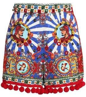 Dolce & Gabbana Embellished Printed Jacquard Shorts