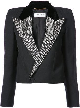 crystal stud Iconic Le Smoking Spencer cropped jacket