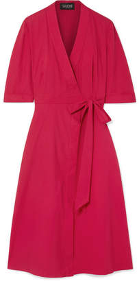 Saloni Mae Stretch-cotton Poplin Wrap Dress - Claret