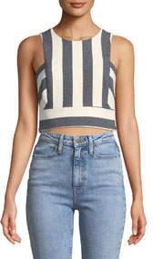Striped Button-Back Crop Top