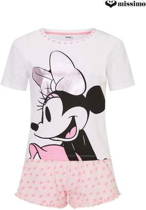 Next Womens Missimo Nightwear Minnie Mouse Shorts And Top PJ Set
