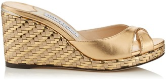 Jimmy Choo ALMER 80 Gold Metallic Nappa Mules with Woven Metallic Fabric