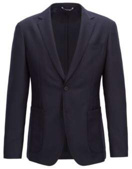 BOSS Hugo Slim-fit blazer in a washable virgin-wool 42R Open Blue