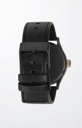 Nixon The Black and Gold Sentry Leather Watch