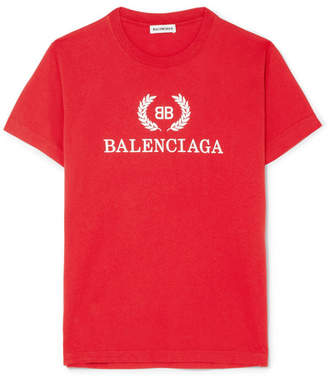 Balenciaga Printed Cotton-jersey T-shirt - Red