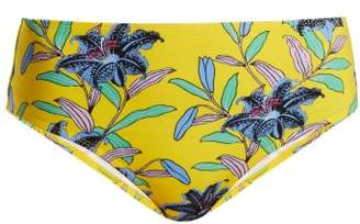 Diane von Furstenberg Cheeky Mid Rise Floral Print Bikini Briefs - Womens - Yellow Print