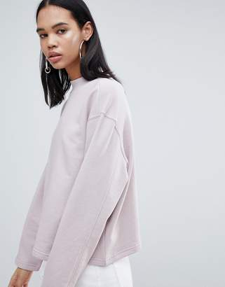 Weekday high neck sweatshirt in dusty pink