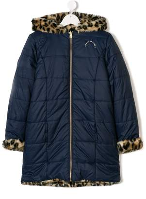 Little Marc Jacobs TEEN reversible faux fur and padded leopard coat