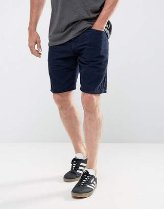 Asos DESIGN Cord Shorts In Light Navy