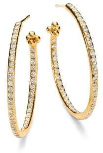 Temple St. Clair Classic Diamond& 18K Yellow Gold Hoop Earrings/1.2""