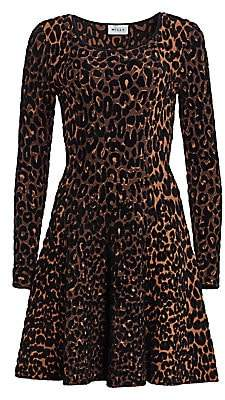 Milly Women's Textured Cheetah Print Fit & Flare Dress