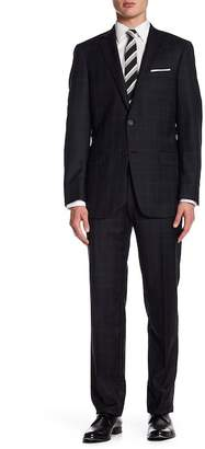 Hart Schaffner Marx Black Plaid Two Button Notch Lapel Wool New York Fit Suit