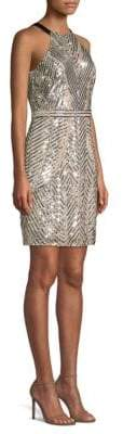Aidan Mattox Beaded Halter Sheath Dress