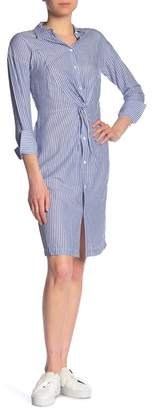 Vince Classic Twist Front Striped Shirt Dress