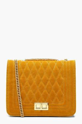 boohoo Suedette Quilted Cross Body