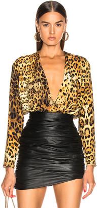 Cushnie Long Sleeve Deep V Bodysuit in Tan Leopard   FWRD