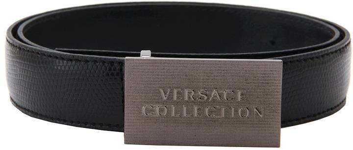 Versace Gunmetal Plaque Belt (Black) - Apparel