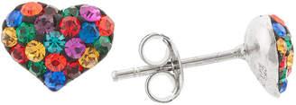 SILVER TREASURES Silver Treasures Multi Color Crystal Heart Stud Earrings