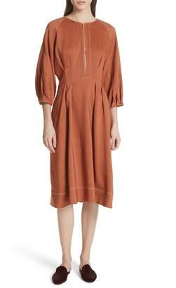 Veronica Beard Claudia Linen Blend Midi Dress