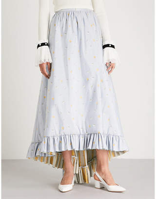 Philosophy di Lorenzo Serafini Ruffled-hem floral-jacquard midi skirt