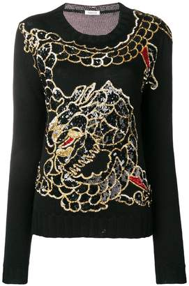 P.A.R.O.S.H. sequin embroidered dragon sweater