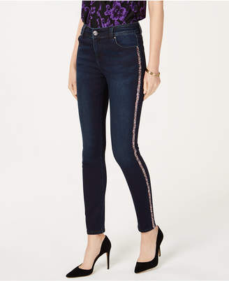 INC International Concepts I.N.C. Rainbow-Sequin-Striped Skinny Jeans, Created for Macy's