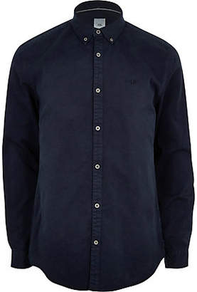 River Island Mens Navy button down stretch long sleeve shirt