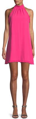 Amanda Uprichard Brielle High-Neck Ruffle Mini Dress