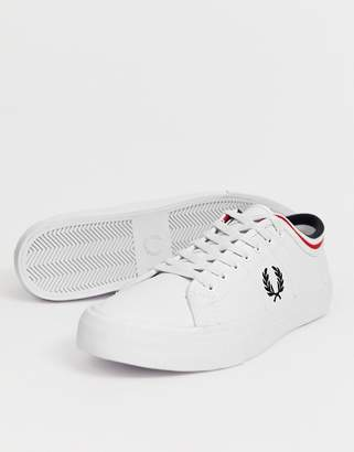 Fred Perry Kendrick tipped cuff leather sneakers in white
