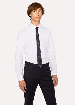 Paul Smith Men's Slim-Fit White Panelled Cotton Shirt