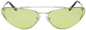 Prada Silver and Green Metal Oval Sunglasses