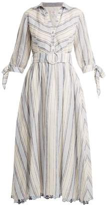 Gül Hürgel Gul Hurgel - Striped Linen Dress - Womens - Blue Stripe