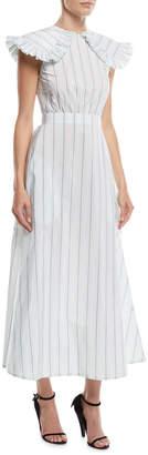 Calvin Klein Ruffled-Shoulder Striped Cotton-Silk Long Dress