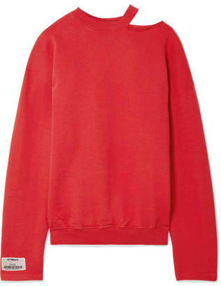 Vetements Oversized Appliquéd Cutout Stretch-cotton Jersey Sweatshirt - Red