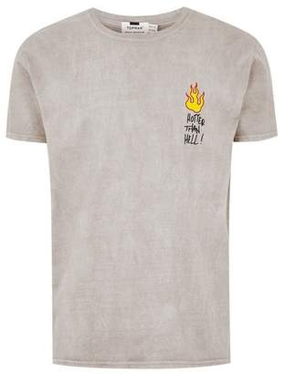 Topman Mens Grey Gray Doodle T-Shirt
