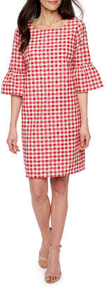 Melrose 3/4 Sleeve Checked Shift Dress-Petite