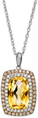 Macy's Sterling Silver Necklace, Citrine (3-1/3 ct. t.w.), White Topaz (1/5 ct. t.w.) and Champagne Diamond (1/3 ct. t.w.) Rectangle Pendant