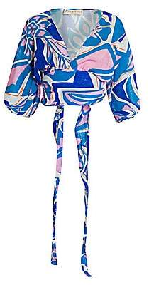 Emilio Pucci Women's Printed Rustic Cotton Puff-Sleeve Top