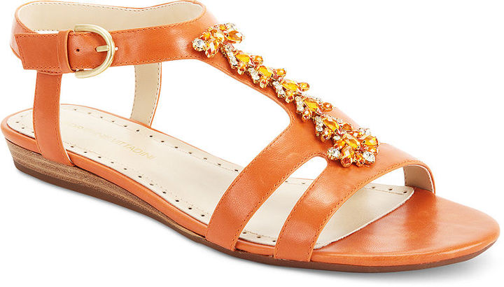 Adrienne Vittadini Tyne Flat Jeweled Sandals