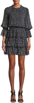 Michael Kors Cheetah-Print Silk Chiffon Tiered Dance Dress