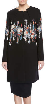 Zac Posen Pleated-Neck Garden-Sequined Embroidered Coat