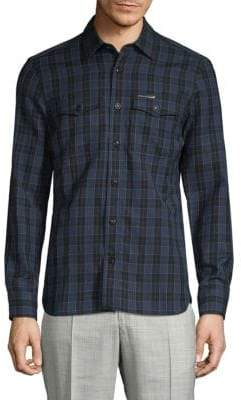 Burberry Plaid Wool & Linen Button-Down Shirt