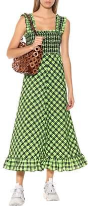 Ganni Checked seersucker maxi dress