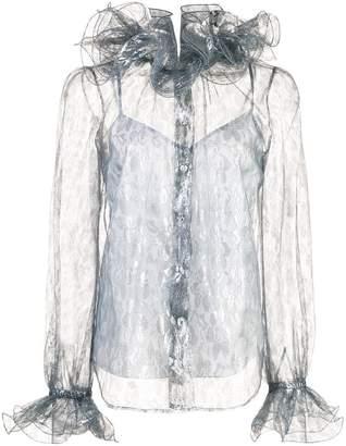 Marc Jacobs ruffled metallic shirt