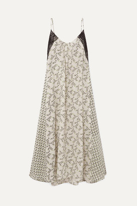 Yvonne S Lace-paneled Printed Linen Maxi Dress - Light green