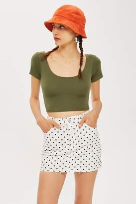 Topshop Womens Petite Crop Top - Khaki